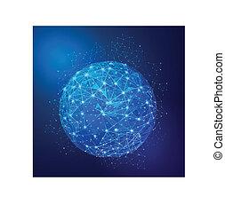 Red de malla digital global, ilustración vectorial