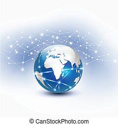 Red de malla mundial, ilustración vectorial