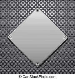 Red de metal y placa