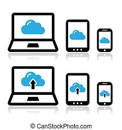 Red de nubes en portátil, tablet