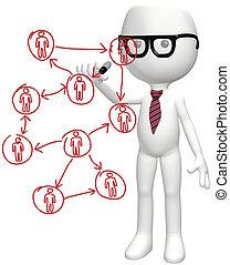 red, empresarios, elegante, social, recursos, plan
