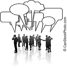 red, empresarios, medios, comunicación, charla del equipo