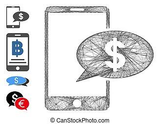 red financiera, móvil, malla, mensaje, vector