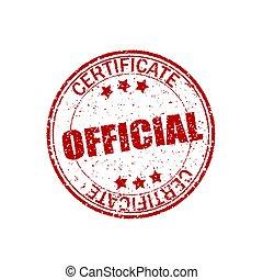 Red, formas retro. Certificado oficial. Textura de goma redonda. Un sello antiguo de fondo blanco. Elemento grunge para foca. El efecto del crack