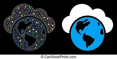red, globo, malla, brillante, puntos, icono, luz
