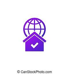 red, hogar, icono, blanco
