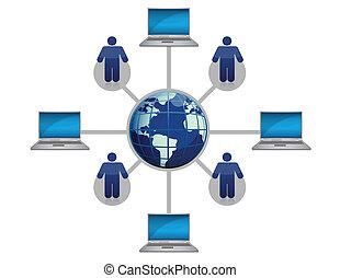 Red mundial de computadoras azul