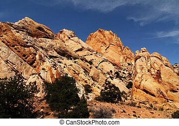 Red, Rock, National, Park, Moab, Southern, Utah, Desert, Vista, al aire libre, naturaleza, vacaciones, cielo, escénicos, viajes, piedra, arena, arcos, canyonlands, momument, valle, gran, círculo, salvaje, paz