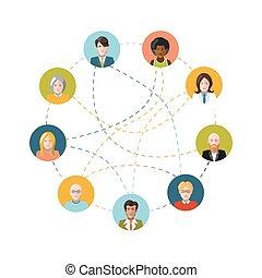 Red social con gente plana en blanco