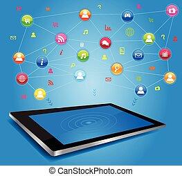 Red social en tablet digital
