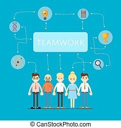 red, trabajo en equipo, social, bandera