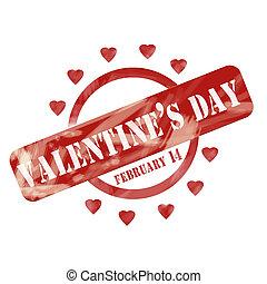Red Weathered circule el día de San Valentín y diseño de corazones