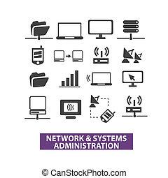 red, y, conjunto, iconos, administración, vector, sistemas