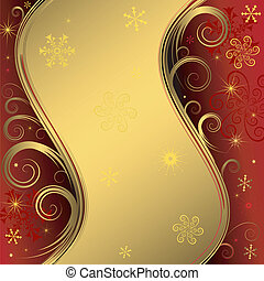 Red y dorada historia de Navidad (vector)