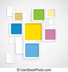redondeado, colorido, graphi, -, vector, plano de fondo, fronteras, cuadrados