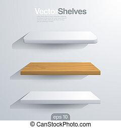 redondeado, shelves., forma., vector, esquina, rectángulo, 3d