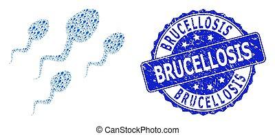 redondo, células, estampilla, fractal, icono, composición, brucellosis, rasguñado, esperma
