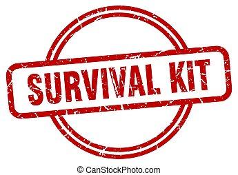 redondo, estampilla, grunge, kit, supervivencia, stamp., vendimia