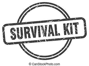 redondo, estampilla, vendimia, kit, supervivencia, grunge, stamp.