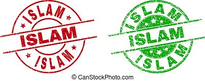 redondo, islam, utilizar, sellos, textura, rasguñado, estampilla