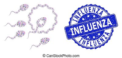 redondo, recursive, mosaico, influenza, icono, angustia, estampilla, sello, inseminación, esperma