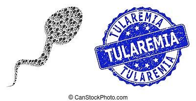 redondo, tularemia, mosaico, textured, recursion, célula, icono, sello, esperma