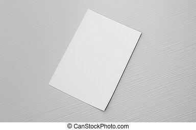 reemplazar, ilustración, diseño, 3d, gris, render, vacío, aislado, hoja, blanco, su
