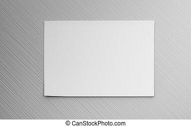 reemplazar, ilustración, diseño, 3d, gris, render, vacío, aislado, horicontal, hoja, blanco, su