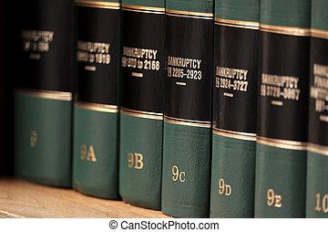 referencia, ley, estante, libros, quiebra, legal