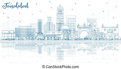 reflections., faisalabad, paquistán, ciudad de edificios, contorno, contorno, azul