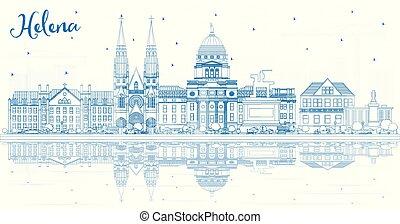 reflections., helena, montana, edificios, contorno, ciudad, contorno, azul