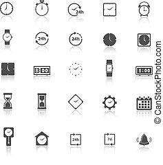 reflejar, blanco, tiempo, plano de fondo, iconos