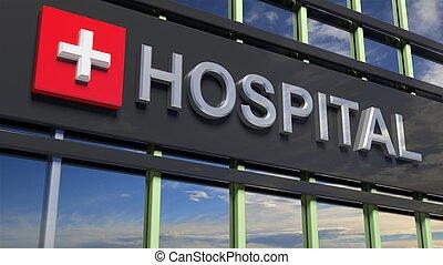 reflejar, vidrio., primer plano, señal, cielo edificio, hospital