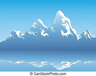 Reflejo de montaña de nieve