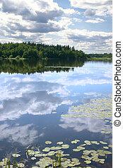 Reflejo del cielo en una superficie lisa de agua
