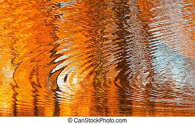 Reflejos en el agua, fondo otoñal abstracto