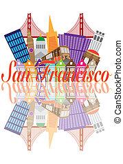 Reflexión del puente Golden Gate abstracto de San Francisco