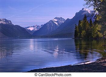 reflexión, mcdonald, parque nacional, lago, glaciar, montana