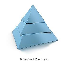 reflexión, pirámide, encima, tres, niveles, brillante, plano de fondo, blanco, sombra, 3d
