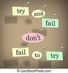 refrán, haga no, de motivación, probar, tabla, palabras, falle