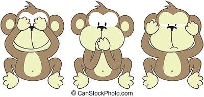 refrán, tres, monos