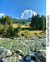 refresco, árboles, gente, alpes, riachuelo, hinterglemm, verano, soleado, esquí, día, vista, senderos, región, austria, aéreo, utilizado