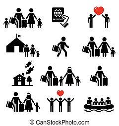refugiado, immigrants, iconos, familias