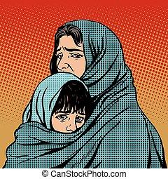 refugiado, niño, pobreza, migración, madre