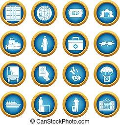 Refugiados problemas iconos del círculo azul