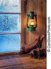 refugio, tibio, invierno, día, helado