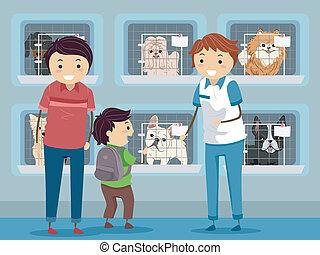 refugio, visita, perro