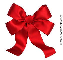 Regalo de satén rojo. Ribbon. Aislado en blanco