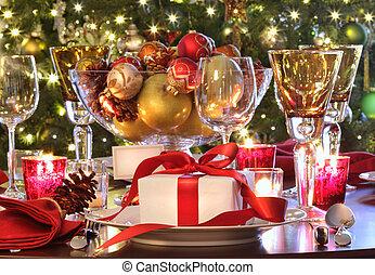 regalo, feriado, tabla, rojo, ajuste, ribboned