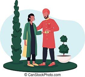 regalos, bandera, pareja, vector, intercambio, cartel, indio, tela, 2d